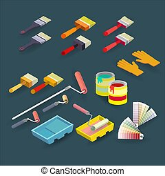 Isometric construction tools. Brush, roller, palette, gloves. Vector.