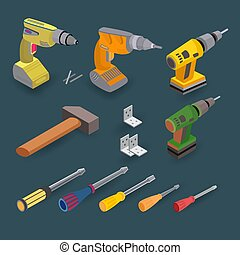 Isometric construction tools. Drill, screwdriver and hammer. Vector set.