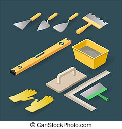 Isometric construction tools for repair. Isolated level, gloves, spatula. Vector.