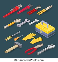 Isometric construction tools. Plumber wrench, spanner, screwdriver, hammer. Vector set.