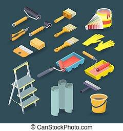 Isometric construction tools. Roller, paint, brush, palette, bucket. Vector set.