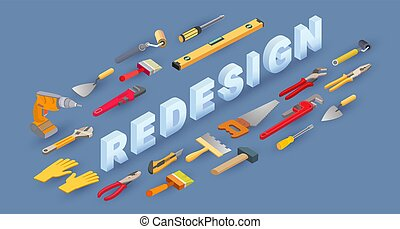 Isometric Construction tools, word Redesign. House repair ...