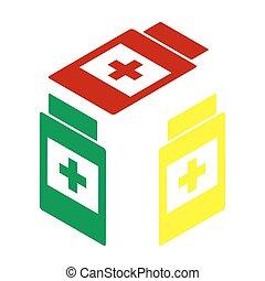 isometric, container, medisch, stijl, geel groen, icon., teken., rood