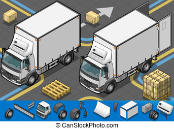 isometric container refrigerator truck in front view -...