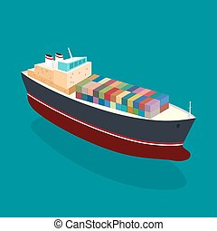 Isometric container ship on the water, a top view of a cargo...