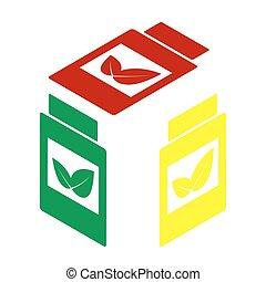 isometric, container, teken., stijl, gele, aanvulling, groene, icon., rood