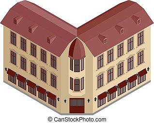 Isometric corner building
