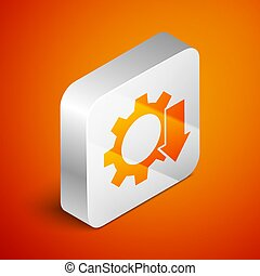 Isometric Cost reduction icon isolated on orange background. Silver square button. Vector Illustration