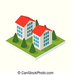 isometric country house