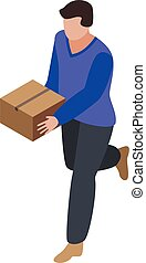 isometric, courier, stijl, rennende , pictogram