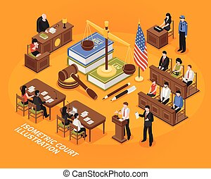 Isometric Court Illustration - Court hearing isometric...