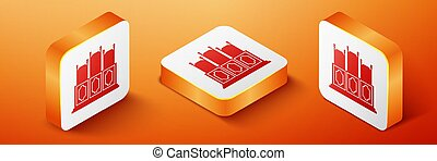 Isometric Court's room with table icon isolated on orange background. Chairs icon. Orange square button. Vector