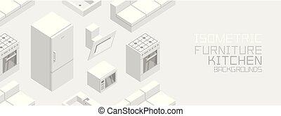 isometric, cozinha, mobília