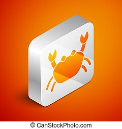 Isometric Crab icon isolated on orange background. Silver square button. Vector