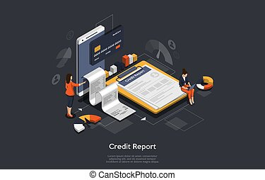 Isometric credit report concept. People are analysing calculate credit report. Credit score calculator, financial report, checking credit score for loan banner. Vector illustration