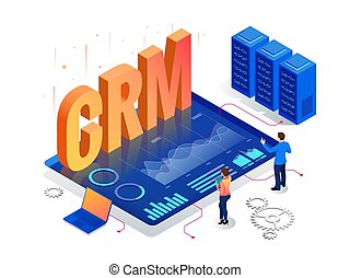 Isometric CRM web banner. Customer relationship management concept. Business Internet Technology vector illustration