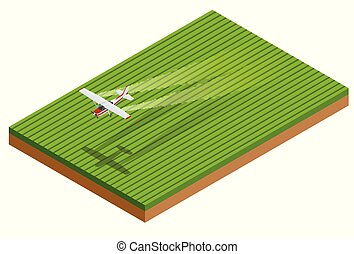 Isometric crop duster applies chemicals to a field of vegetation. Vector illustration