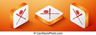 Isometric Crossed baseball bats and ball icon isolated on orange background. Orange square button. Vector
