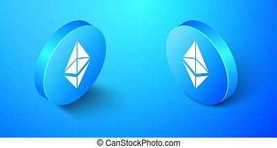 Isometric Cryptocurrency coin Ethereum ETH icon isolated on blue background. Digital currency. Altcoin symbol. Blockchain based secure crypto currency. Blue circle button. Vector.