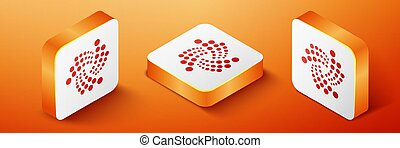 Isometric Cryptocurrency coin IOTA MIOTA icon isolated on orange background. Digital currency. Altcoin symbol. Blockchain based secure crypto currency. Orange square button. Vector.
