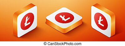 Isometric Cryptocurrency coin Litecoin LTC icon isolated on orange background. Digital currency. Altcoin symbol. Blockchain based secure crypto currency. Orange square button. Vector.