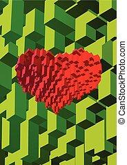 Isometric cube block in heart shape on green BG