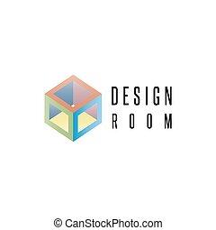 isometric, cubo, logotipo, forma geométrica, 3d, projete elemento, mockup, abstratos, sala, ícone