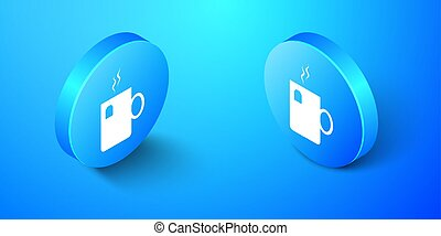 Isometric Cup of tea with tea bag icon isolated on blue background. Blue circle button. Vector
