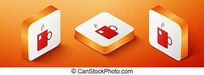 Isometric Cup of tea with tea bag icon isolated on orange background. Orange square button. Vector