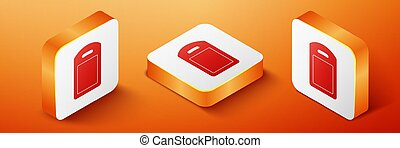 Isometric Cutting board icon isolated on orange background. Chopping Board symbol. Orange square button. Vector