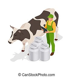 Isometric dairy cattle set. Farmer collecting milk at his dairy farm Cows collection. Isolated on white background.
