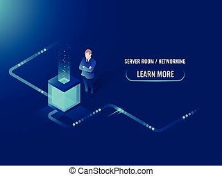 Isometric data center, vector big data processing and storage, information guarding, man