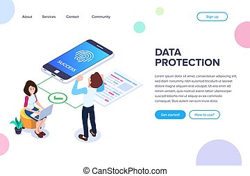 Isometric data protection Concept. Successful access to files by fingerprint. Small people next to a large mobile phone and document. Vector illustration isolated on white background.