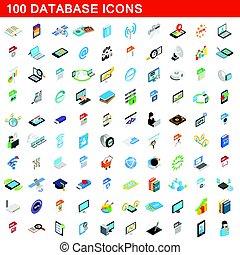 isometric, databank, set, iconen, stijl, honderd, 3d