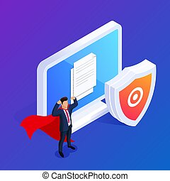 Isometric database protection concept. Protect your files or photos on your desktop PC. Can use for web banner, infographics, hero images. 3d vector illustration.