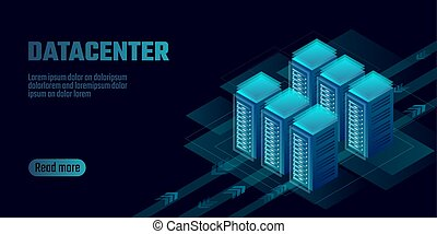 Isometric datacenter cloud computing storage concept banner....