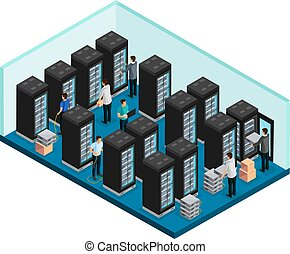 Isometric Datacenter Concept - Isometric datacenter concept...