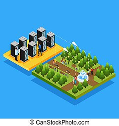 Isometric Datacenter Hosting Servers Concept