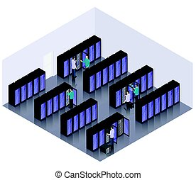 Isometric Datacenter Hosting Servers Room Concept
