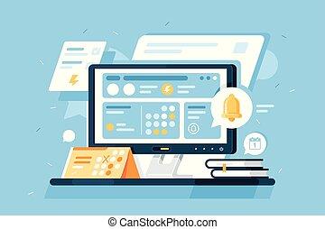 isometric, dator, anteckningsblock, schema, utrustning, kalender, alert., app, 3