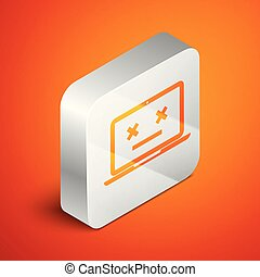 Isometric Dead laptop icon isolated on orange background. 404 error like laptop with dead emoji. Fatal error in pc system. Silver square button. Vector Illustration