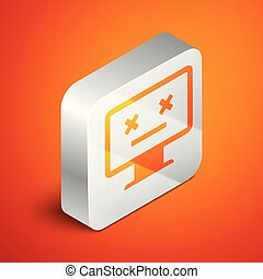 Isometric Dead monitor icon isolated on orange background. 404 error like pc with dead emoji. Fatal error in pc system. Silver square button. Vector Illustration