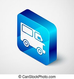 Isometric Delivery cargo truck vehicle icon isolated on grey background. Blue square button. Vector Illustration