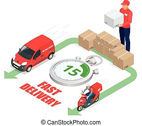 Isometric delivery service concept. Fast delivery car, fast delivery motobike, delivery man, stopwatch. Vector 3d isometric illustration