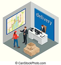 Isometric delivery service or courier service concept. Courier making notes in delivery receipt at table. Vector illustration