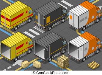 Isometric Delivery Truck in Three Livery