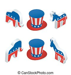 isometric, democrata, burro, e, a, republicano, elefante