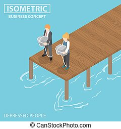 Isometric depressed businessman with rock and rope thinking...