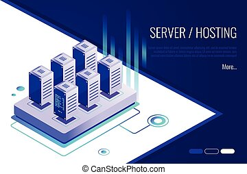 Isometric design concept of landing page suggesting to buy or rent a servers and hosting