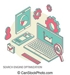 Isometric design modern concept of website analytics and SEO...